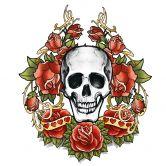 Fensterbild La Ink Schädel mit Rosenkranz