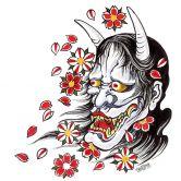 Fensterbild Miami Ink Hannya Maske