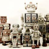 Fototapete Vliestapete Versammlung der Roboter (Rolle)