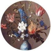 Fototapete Van der Ast - Blumen in einer Wan-Li Vase - Rund