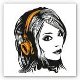 Wandbild Girl with Headphones