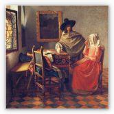 Wandbild Vermeer - Das Glas Wein