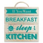 Holzbild If you want Breakfast -türkis-