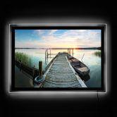 LED-Wandbild - Sunset at the lake