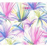Livingwalls Vliestapete Colibri Tapete mit Palmenprint in Dschungel Optik weiß, gelb, lila