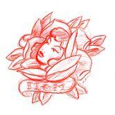 Wandtattoo Miami Ink Blütengesicht