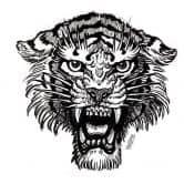 Wandtattoo Miami Ink Tiger s/w