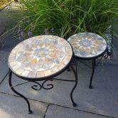 Mosaiktisch 2er Set 30cm, 24cm Durchmesser Stein mosaik Blumenhocker Blumendeko