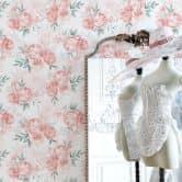 Mustertapete UN Designs - Zarte Rosa Aquarell Blumen