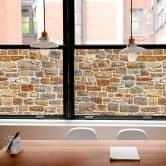Pellicola adesiva per vetri - muro di pietre Arizona (panoramica)