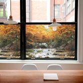 Sichtschutzfolie Autumn Waterfall - quadratisch