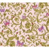 Versace wallpaper Tapete Butterfly Barocco grün, metallic, rosa