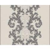 Versace wallpaper Mustertapete Tapete Baroque & Roll Grau, Metallic, Weiß