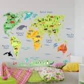 Wandtattoo tierische Weltkarte - Englisch