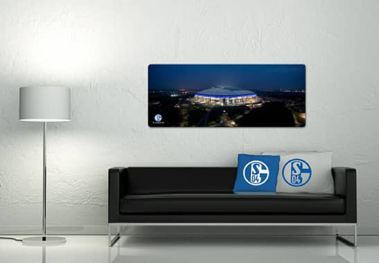 glasbild schalke arena sch nes motiv bei dunkelheit wall. Black Bedroom Furniture Sets. Home Design Ideas