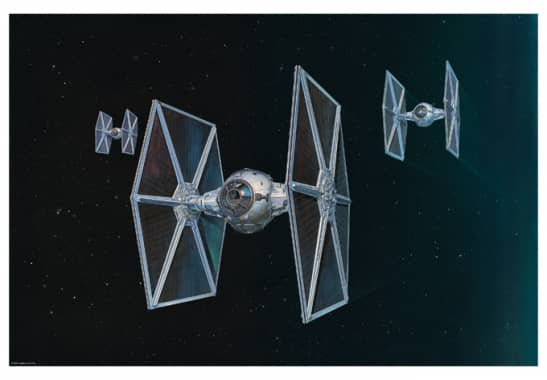 wandbild star wars raumschiff tie fighter wall. Black Bedroom Furniture Sets. Home Design Ideas