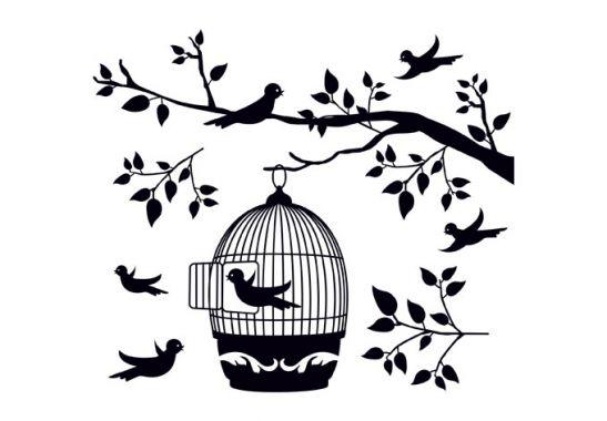 Deko f r scheiben fensterdekor zweig mit vogelk fig wall - Fensterdeko zweig ...