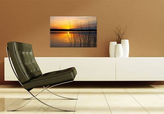 glasbild sonnenuntergang am see romantische dekoidee f r ihr wohn oder schlafzimmer wall. Black Bedroom Furniture Sets. Home Design Ideas