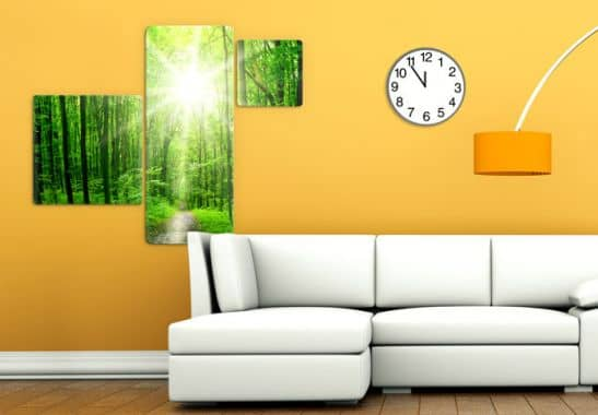 glasbild sunny forest 3 teilig hochwertige deko f r die wand wall. Black Bedroom Furniture Sets. Home Design Ideas