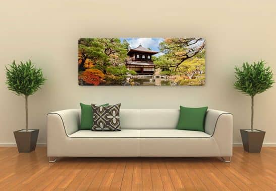 glasbild japanischer tempel 2 panorama naturkulisse in japan wall. Black Bedroom Furniture Sets. Home Design Ideas