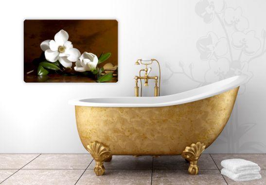 das elegante glasbild mit dem motiv der magnolienzweig. Black Bedroom Furniture Sets. Home Design Ideas