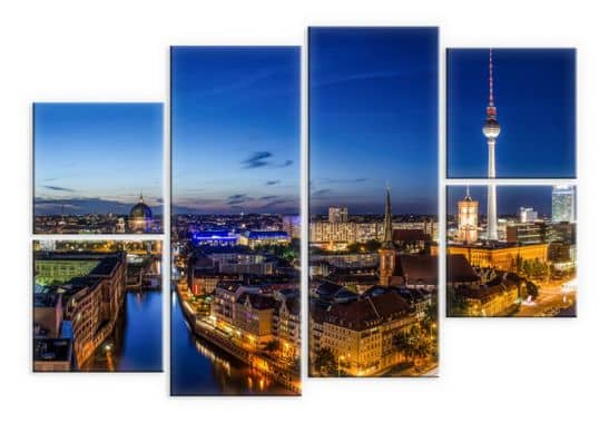 6 teiliges leinwand set berlin panorama metropole der besonderen art von k l wall art wall. Black Bedroom Furniture Sets. Home Design Ideas