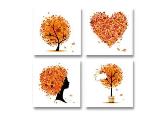 Herbstdeko Fensterbilder : ... Herbst Quartett - Herbstdeko in vier ...