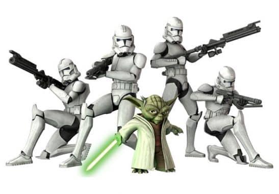 clone wars yoda und troopers star wars wanddeko wall. Black Bedroom Furniture Sets. Home Design Ideas
