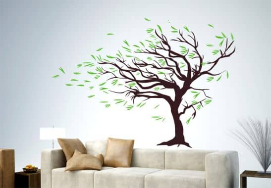 wandtattoo baum im wind herbstdeko mit baum wall. Black Bedroom Furniture Sets. Home Design Ideas