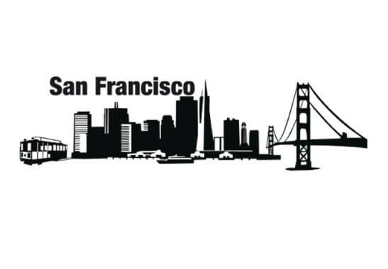 muursticker san francisco skyline wall. Black Bedroom Furniture Sets. Home Design Ideas