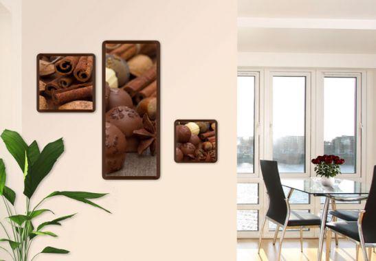 glasbilder set schokoladentraum 02 3 teilig wall. Black Bedroom Furniture Sets. Home Design Ideas