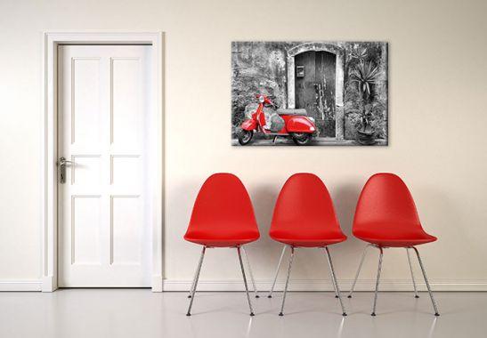 leinwanddruck red scooter motorroller als wandbild wall. Black Bedroom Furniture Sets. Home Design Ideas