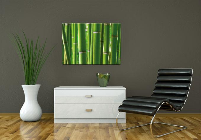 glasbild bambuswald wandbild mit bambus wall. Black Bedroom Furniture Sets. Home Design Ideas