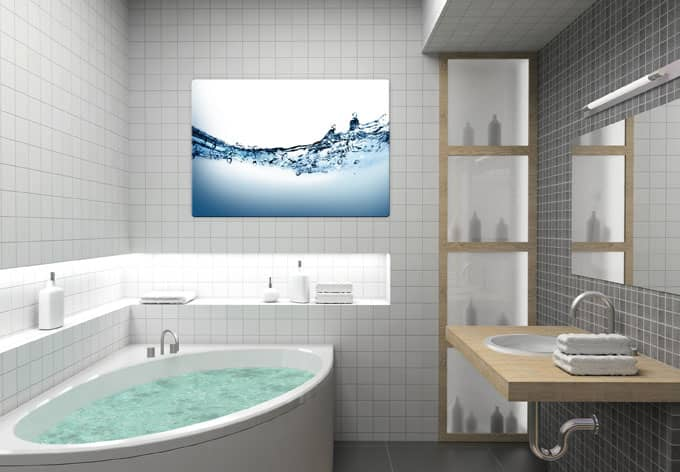 glasbild water flow sprudeleffekt f r ihr badezimmer wall. Black Bedroom Furniture Sets. Home Design Ideas