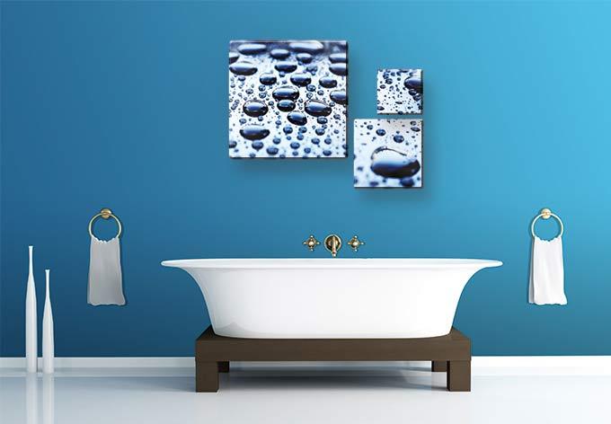 Waterdrops 3 teilig elegantes design f r ihr badezimmer - Glasbild badezimmer ...