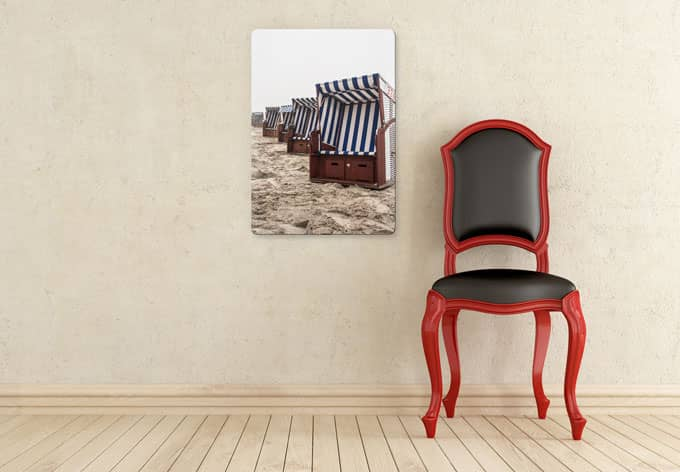 hochwertiges glasbild strandkorb auf norderney von k l wall art wall. Black Bedroom Furniture Sets. Home Design Ideas