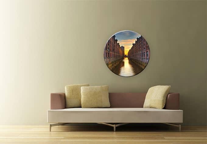 rundes glasbild hamburger fleet von k l wall art wall. Black Bedroom Furniture Sets. Home Design Ideas
