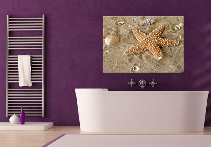 Glasbild patrick der seestern elegantes glasbild f r das - Glasbild badezimmer ...