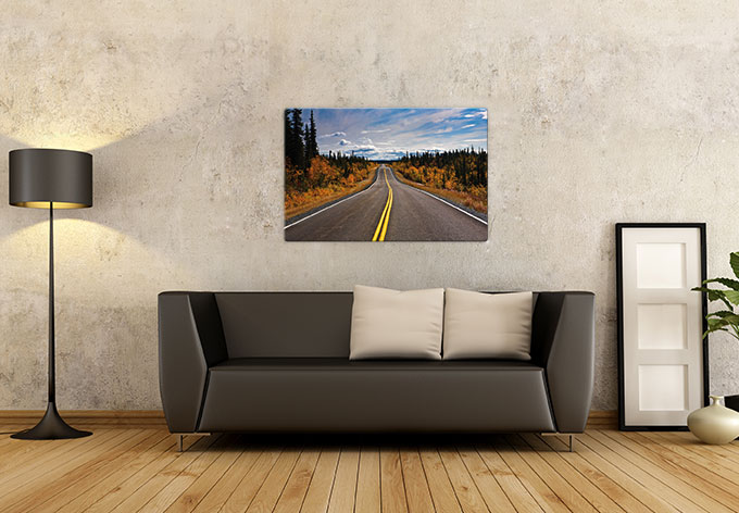 glasbild road trip mit dem auto durch die usa wall. Black Bedroom Furniture Sets. Home Design Ideas