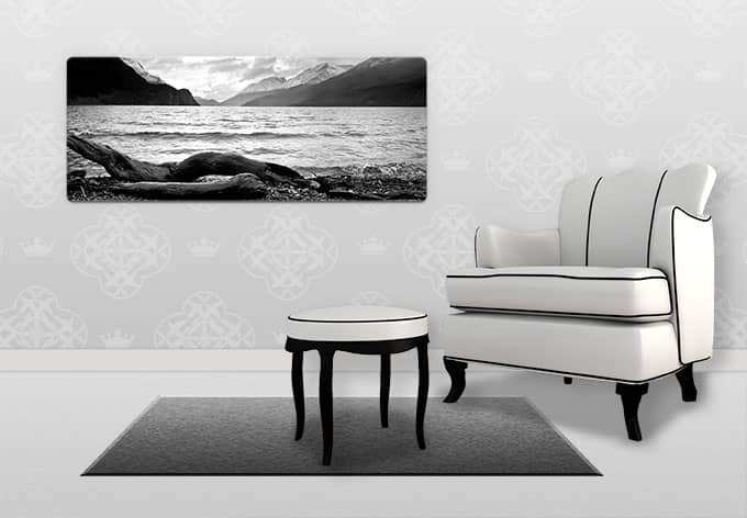 panoramaglasbild log and lake schwarz wei fotografie wall. Black Bedroom Furniture Sets. Home Design Ideas