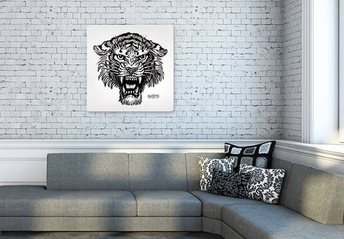 schwarz wei glasbild tiger von miami ink exklusiv bei k l wall art wall. Black Bedroom Furniture Sets. Home Design Ideas