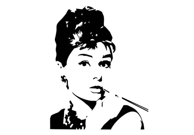 wandtattoo audrey deko mit audrey hepburn wall. Black Bedroom Furniture Sets. Home Design Ideas