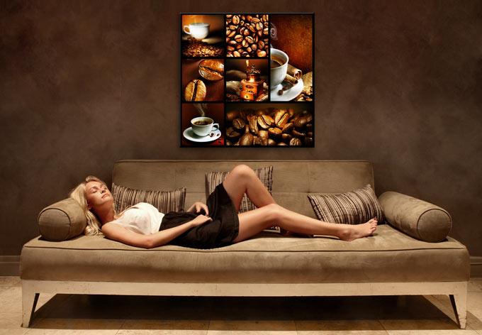 k chendekoration glasbild enjoy coffee wandbild mit kaffee wall. Black Bedroom Furniture Sets. Home Design Ideas