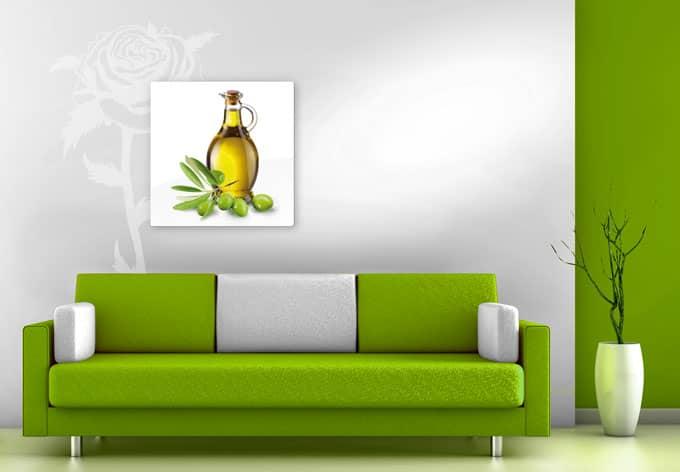 wandbild mediterrane k che oliven l auf glas wall. Black Bedroom Furniture Sets. Home Design Ideas