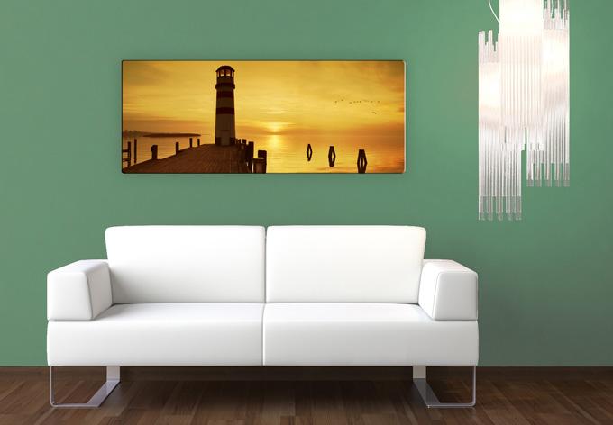 ein tag geht zu ende wandbilder mit leuchtturm wall. Black Bedroom Furniture Sets. Home Design Ideas