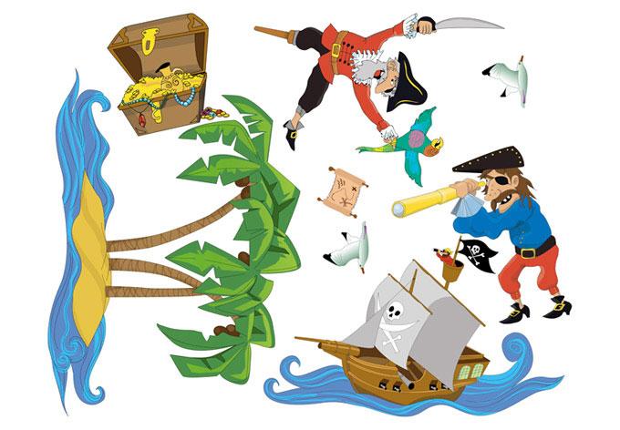 Wandtattoo piraten set tolle piraten als set f r das for Piraten wandtattoo kinderzimmer