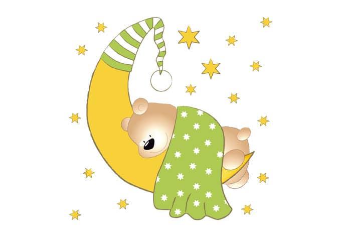 deko für kinder  bärchen mond und sterne grün  wall