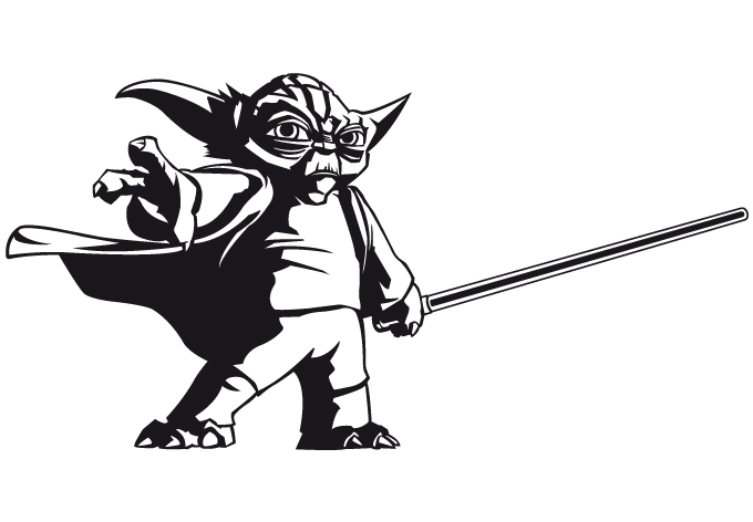 Yoda Silhouette Black Wandtattoo - clone wars yodaYoda Silhouette Black