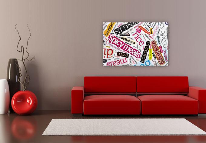 hdf wandbild schnipselcollage mit gescmack tolle deko f r die k che wall. Black Bedroom Furniture Sets. Home Design Ideas