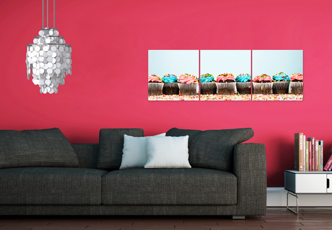 3 teiliges glasbilder set party cupcakes wall. Black Bedroom Furniture Sets. Home Design Ideas